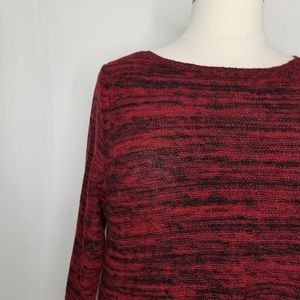 Style & Co Sweaters - Style & Co Red Black Marled Ruffled Pullover
